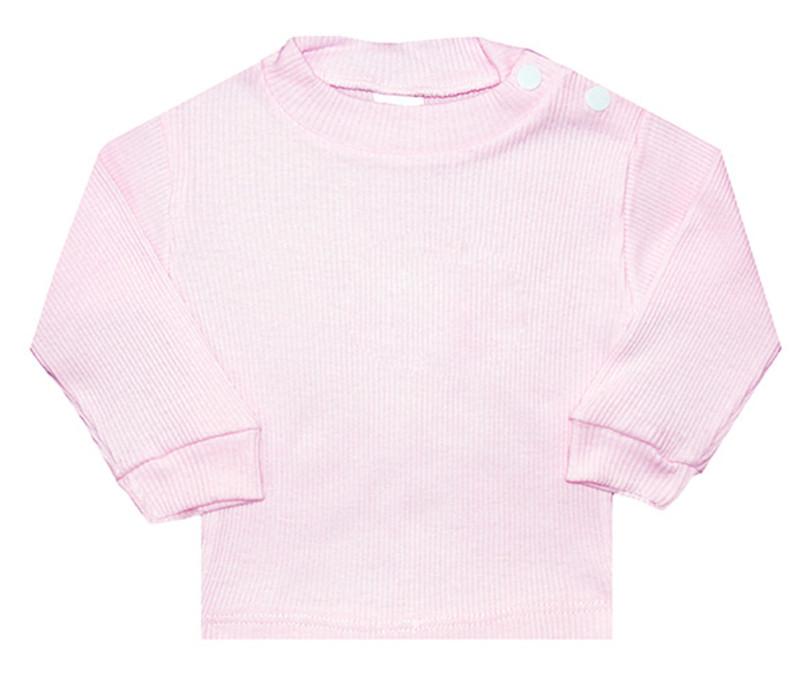 Camiseta Canelada Manga Longa Zupt Baby Rosa