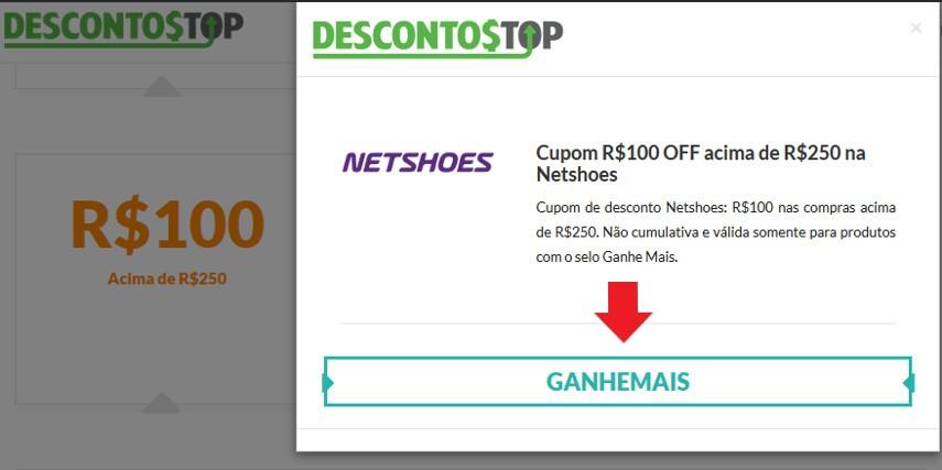 Cupom de Desconto Netshoes R$100 acima de R$250