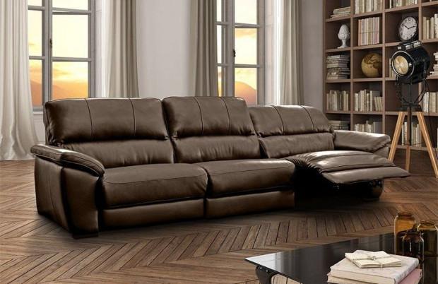 sofá cayman elétrico couro marrom mobly