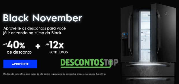 geladeira electrolux com texto black november e descontos de até 40% e 12x