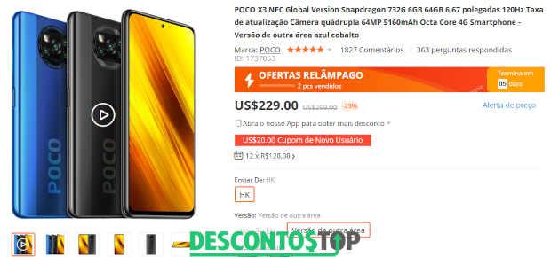Celular POCO X3 a venda no site Banggood