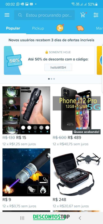 produtos a venda na loja Wish pelo app
