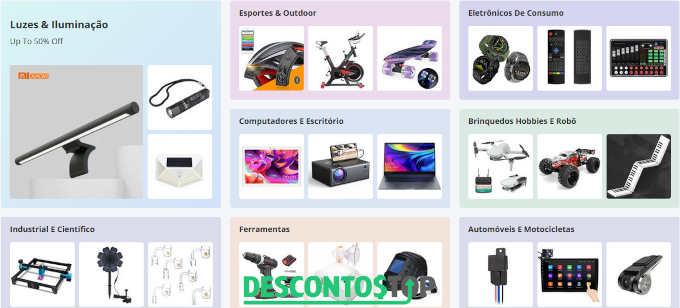 Captura de tela de produtos populares no site Banggood