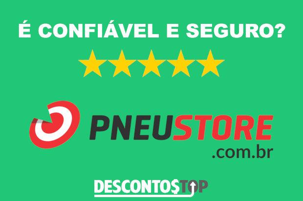 Logo da PneuStore e indicação de 5 estrelas para confiabilidade