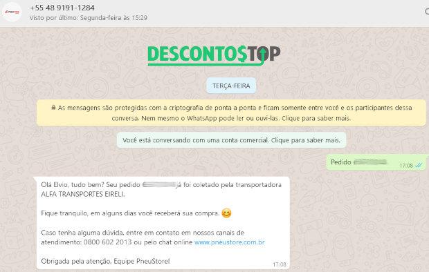 Mensagem de WhatsApp informando a transportadora escolhida pela PneuStore para um pedido