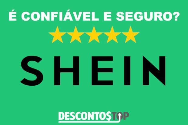 logo da Shein com cinco estrelas e palavras confiável e seguro
