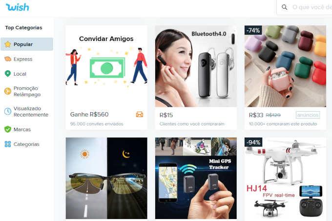 produtos no site wish