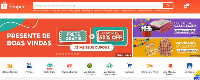 captura de tela do site Shopee mencionando descontos