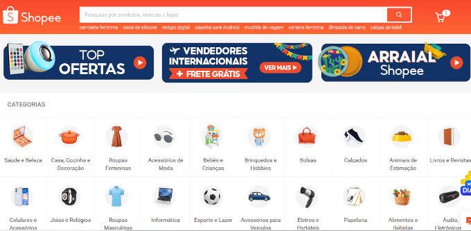 captura de tela do site Shopee mecionando ofertas
