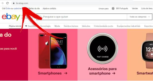 captura de tela do subdomínio brasileiro do site ebay