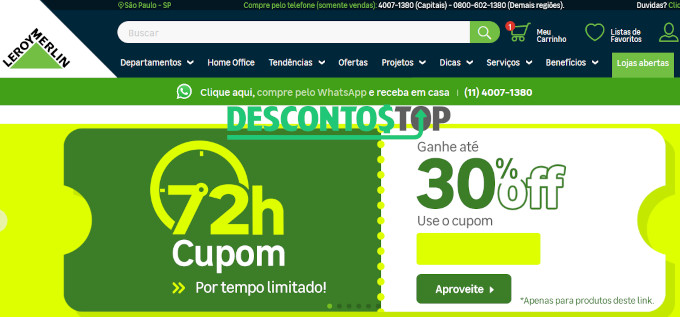 Captura de tela do site Leroy Merlin indicando cupom de desconto de até 30%