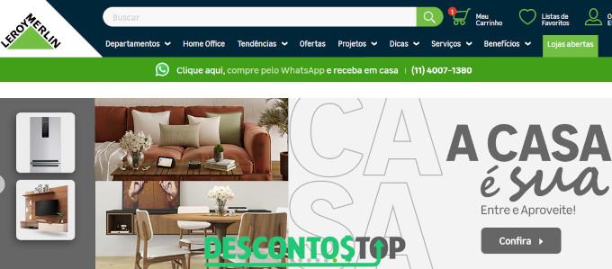 Captura de tela do site Leroy Merlin com móveis em destaque